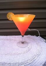 Novelty Martini Glass Cocktail Table Lamp Orange with/Twist of Orange Electric
