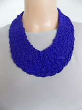 Electric Blue Beaded Chunky Plait Style Statement Necklace -UK SELLER