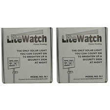 2 New Lite Watch Solar Powered Night Light Security Address Sign LED Yard Lawn