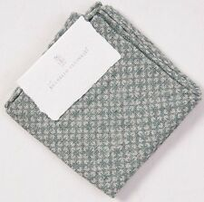NWT $155 BRUNELLO CUCINELLI Green Floral Linen Pocket Square Gift Packaging