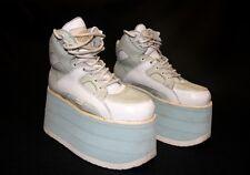 Rara De colección años 90 Blanco y Azul Pálido Torre De Búfalo Cuero Zapatos De Plataforma Talla 7