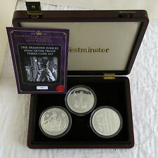 FIJI 2012 DIAMOND JUBILEE 3 X 65mm $10 1oz SILVER PROOF COIN SET - complete