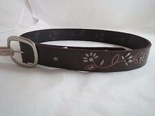 womens Fossil floral stud vine brown leather belt, sz s, NWT