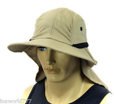 Sun Flap Boonie Cap Ear Neck Cover hat Soft material Fishing Hiking - Beige