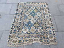 Antique Shabby Chic Traditional Hand Made Caucasian Blue Wool Rug 160x121cm
