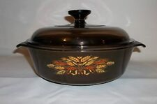 Vintage Brown With Wheat Pattern Teflon Coated Casserole Dish W / Lid (260)