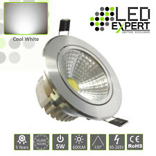 5 x 5w LED Expert Cool White Tilting LED Down Lighters Silver Bezel IP40 230v