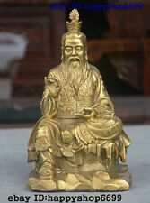 "8"" China Taoism Brass Taoist priest God Tai ji Tai shang lao jun Lao tzu Statue"
