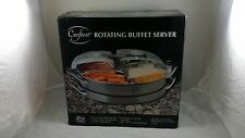Crofton Rotating Buffet Server Lazy Susan Style Chafing Pans w/ Transparent Lids