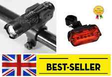 front torch and rear 5 led lights set - bright lamp bike red zoomable aluminium