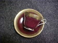 Aynsley BUCKINGHAM Maroon Scalloped Demitasse Cup(s) & Saucer(s)