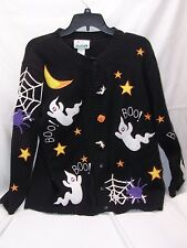 Quacker Factory Halloween Motif Cardigan w/Button Covers RARE Medium Sweater