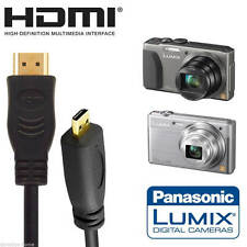 Panasonic DMC-TZ60EB, DMC-FZ1000EB Camera HDMI Micro TV Monitor 2m Gold Cable