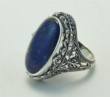 Antique Victorian Style Flip Ring Onyx Lapis  8 Grams Size 8 Sterling Silver