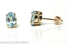 9ct Gold Earrings Blue Topaz Studs Gift Boxed Made in UK