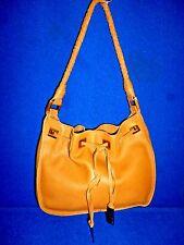 Via Spiga Caramel Brown Soft Leather Drawstring Shoulder Hobo Bag Braided Strap