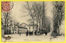 cpa Rare MORTAGNE sous la NEIGE en 1909 (Orne) Vue prise du JARDIN de la MAIRIE