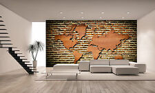 World Map With Wood Texture Wall Mural Photo Wallpaper GIANT WALL DECOR P