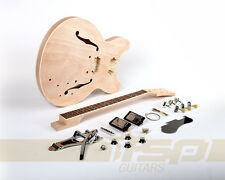 Semi-Hollow Body DIY Electric Guitar Builder Kit with Mahogany Unfinished New