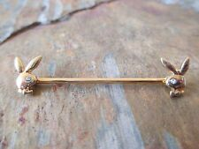 "Gold Playboy Bunny Industrial Barbell Cartilage Piercing 14G  1-1/4"" (32mm)"