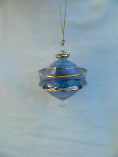 """Egyptian Hand Blown Fancy Etched Glass Christmas Ornament Gift 3.75"""" #657"""