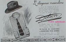 PUBLICITE DELION CHAPEAU CHAPELIER POUR HOMME CHEMISERIE DE 1925 FRENCH AD HAT