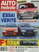 AUTO HEBDO n°671 du 12 Avril 1989 405MI16 R21 TURBO