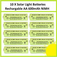 10 x AA 1.2V 600mAh NiMH Rechargeable Batteries for Solar Lights - replaces NiCd