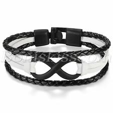 Fashion Love Infinity Symbol Friendship Men's Women's Leather Bracelet Wrap Cuff