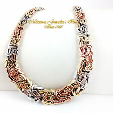 "18.5"" 14K TRI COLOR Gold BYZANTINE Collar Necklace Graduating 41.0g 3 Color"