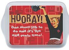 Horray One More Job... Melamine Tray Retro Mini Tablett 19 x 14cm Rockabilly