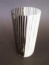 Vintage Murano Avem Art Glass Black and White Striped Vase 6.25""