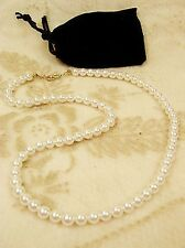 "Faux Pearl Single Strand Necklace 18"" Young Lady Girl Gift Pouch"