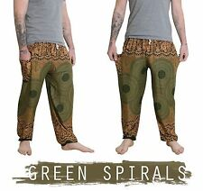 Mens Thai Yoga Pants / Baggy Harem Trousers - Elephant Unisex Drawstring Hippy