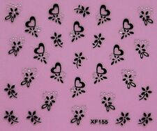 Nail Art Stickers Black Wrap Flower Heart Halloween Corolla Crystal Tattoos 155