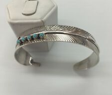 Native American sterling silver handmade Turquoise  Feather Design Cuff bracelet