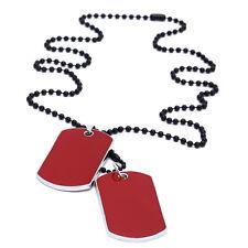 Collier Chaîne Pendentif 2 Plaque Identité Dog Tag Rouge Alliage Militaire Homme