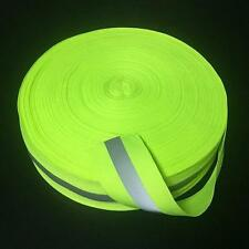 "Reflective Lime Green Gray Tape Sew On 2"" Trim Fabric Material 1yard/3Feet X っ"