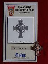 GÖDE Orden KÖNIGREICH SACHSEN KRIEGSVERDIENSTKREUZ + ZERTIFIKAT Nr.0023