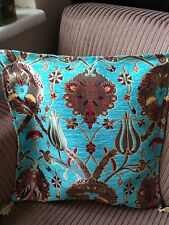 "Turkish High Quality Ottoman Style Chenille Cushion Pillow Cover 17"" x 17"" BLUE"