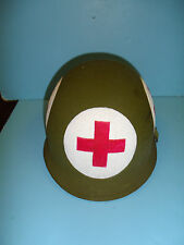 h46v1 WW 2 US  helmet shell hand painted Medic Medical Red Cross