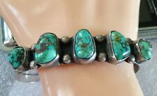 NATIVE AMERICAN STERLING SILVER SPIDERWEB TURQUOISE CUFF BRACELET