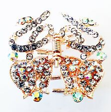 USA HAIR CLAW Clip Rhinestone Crystal Hairpin Butterfly Bowknot Clear Gold 02