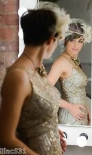 Sz 6 * SUE WONG ILLUSION Wedding Dress Champagne & Silver 1920's GATSBY