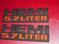 2013 2014 2015 DODGE RAM 1500 5.7 LITER HEMI FRONT FENDER EMBLEMS SET BLACK/RED