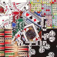 "Games Casino Jackpot 30 4"" fabric squares cards dice 100% cotton quilting quilt"