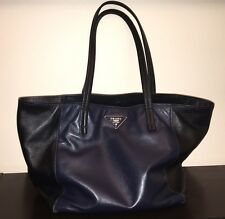 Authentic Prada 2014 Soft Calf Leather Bicolor Black Blue Tote Bag BR5109