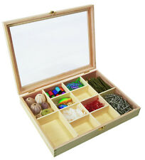 *NEW* Wooden 12 Division Compartment Collectors Display Shadow Box - Acrylic Lid