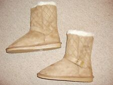 LADIES CHESTNUT QUILTED FAUX SUEDE BOOTS IN SIZE 6 BNWT FROM TG AT ASOS