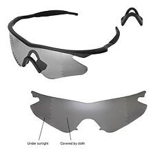 Walleva Polarized Transition Replacement+Black Nosepads 4 Oakley M Frame Heater